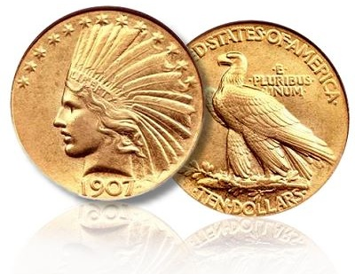 1907 Wire Rim Indian eagle with a plain edge.