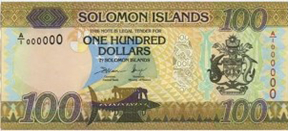 Solomon Islands $100 bank note, front