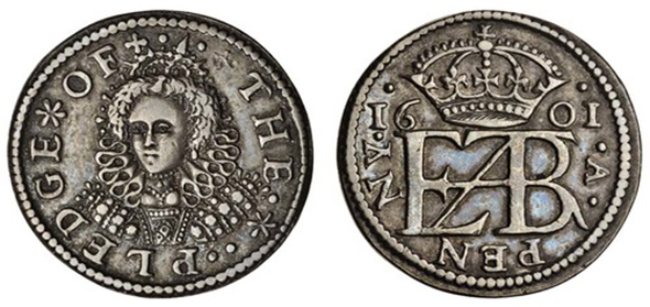 Queen Elizabeth I English penny