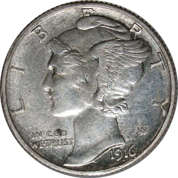1916-D Mercury Dime Counterfeit