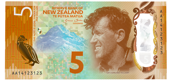 "front, New Zealand 2015 ""Brighter Money"" Series 7 $5 Banknote"