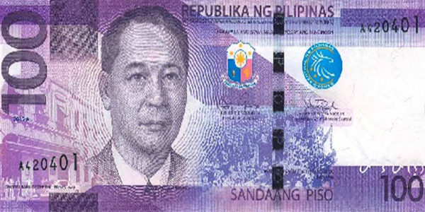 New 100-Piso banknote, obverse. Courtesy Central Bank of the Philippines