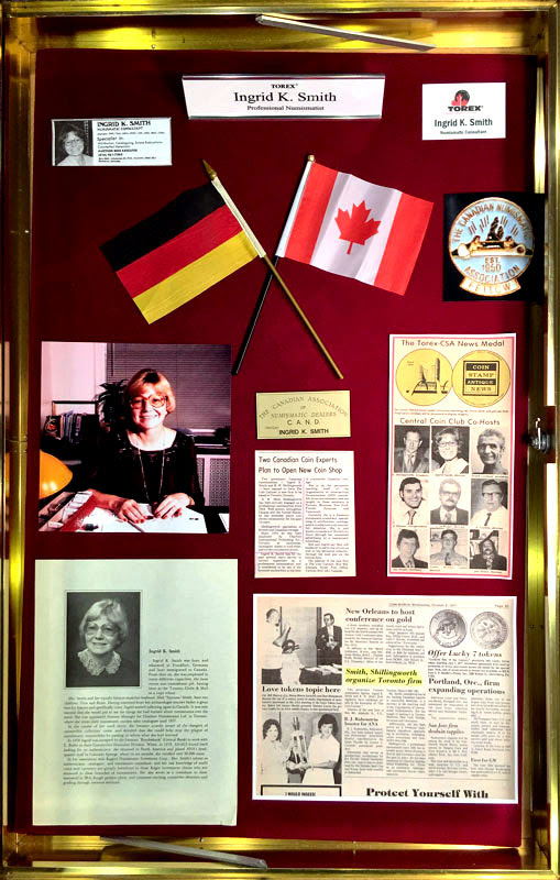 TOREX memorial to showrunner Ingrid K. Smith. Photo courtesy TOREX Coin Show