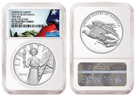 NGC 2016-W American Liberty Silver Medal holder. Images courtesy NGC