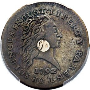 1792 Silver Center Cent. Image courtesy Heritage Auctions