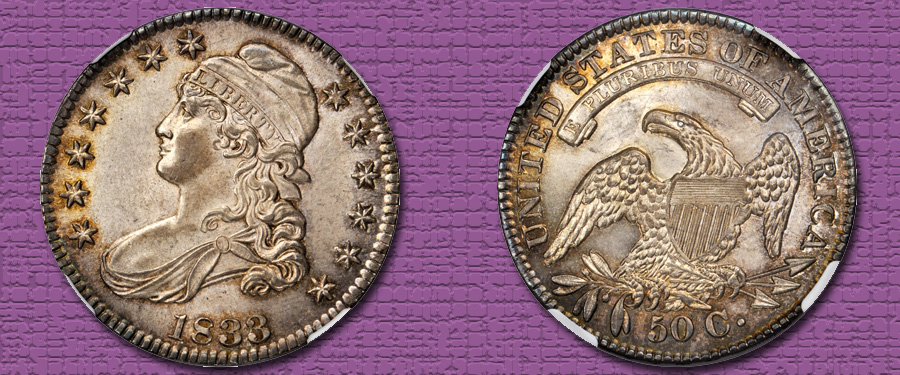 Condition Census Gem 1833 Capped Bust Half Dollar. Images courtesy Stack's Bowers Galleries