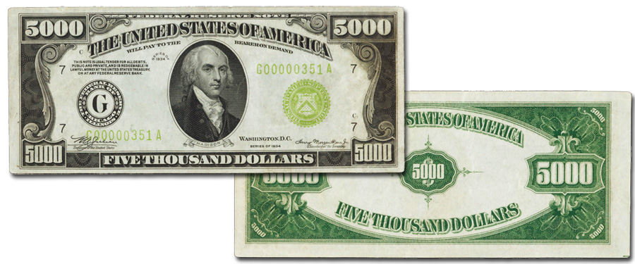 Madison $5,000 Chicago federal Reserve Note, Extremely Fine 40. Images courtesy Stack's Bowers