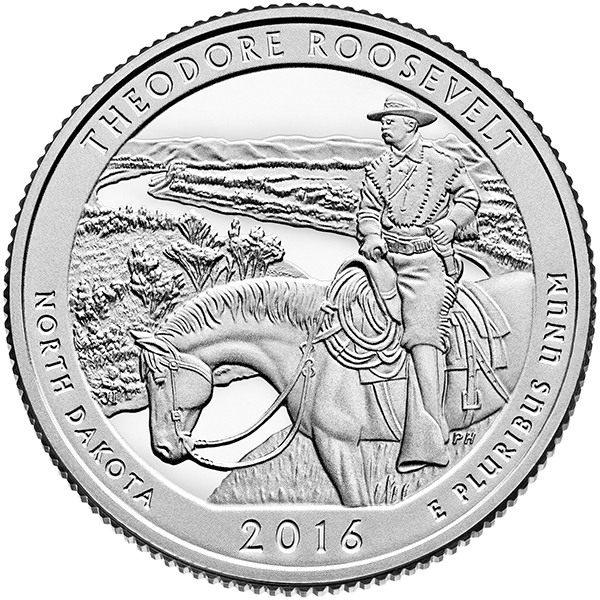 Reverse, United States 2016 America the Beautiful Theodore Roosevelt National Park Quarter.