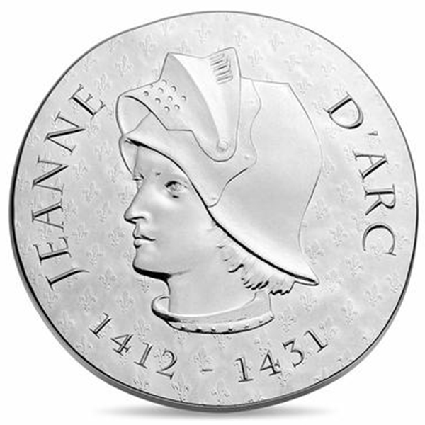 obverse, France 2016 Women of France: Joan of Arc 10 euro Silver proof Coin. Image courtesy Monnaie de Paris