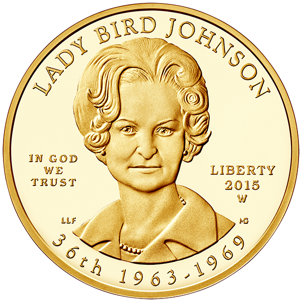 Obverse, United States 2015 Lady Bird Johnson $10 First Spouse Gold Coin
