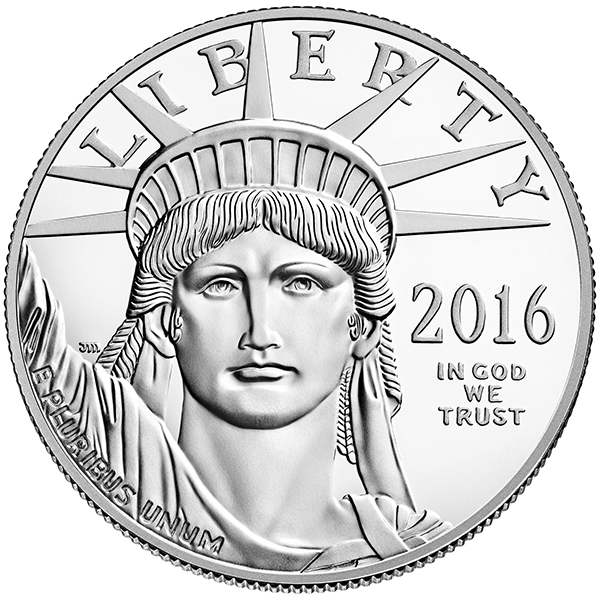 Obverse, United States 2016 American Platinum Eagle Proof coin. Image courtesy U.S. Mint