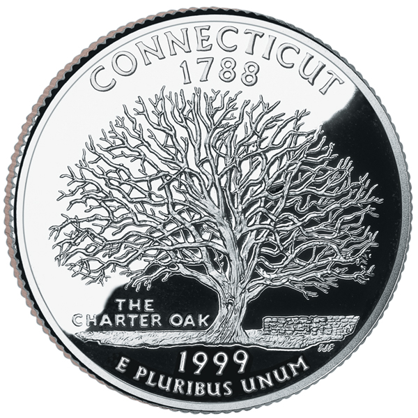 United States 1999 50 State Quarters Connecticut 25c clad coin. Image courtesy U.S. Mint