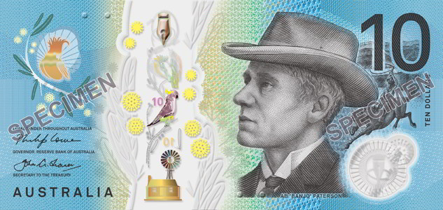 Signature side, Australian 2017 $10 banknote. Image courtesy Reserve Bank of Australia
