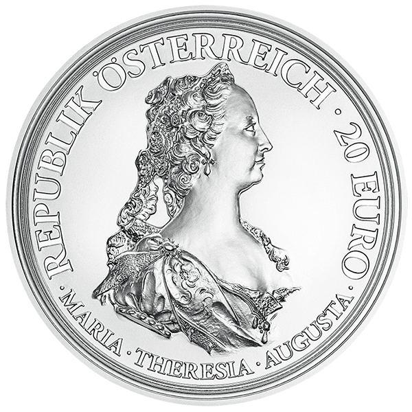 Obverse, Austria 2017 Maria Theresa - Treasures of History: Bravery and Determination 20 Euro Proof Silver Coin. image courtesy Austrian Mint