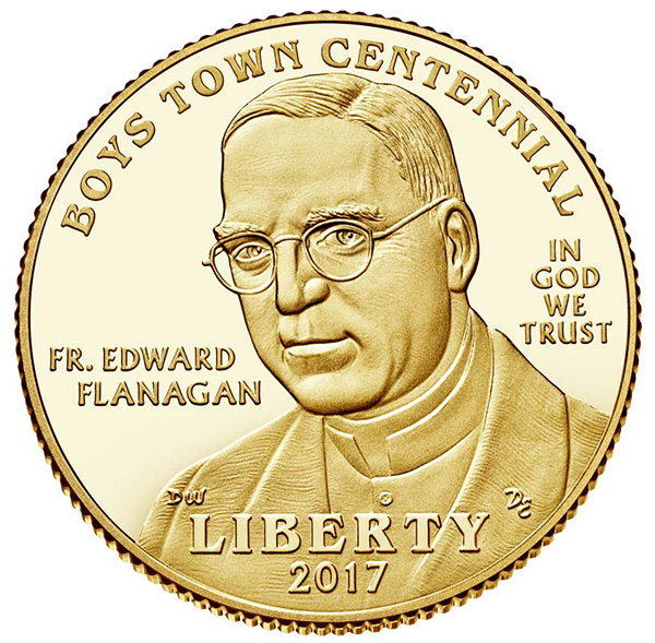 2017 US Mint Boys Town $5 Gold Obverse