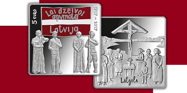 Latvian 2017 Latgale Castle 5 euro silver coin. Images courtesy Bank of Latvia