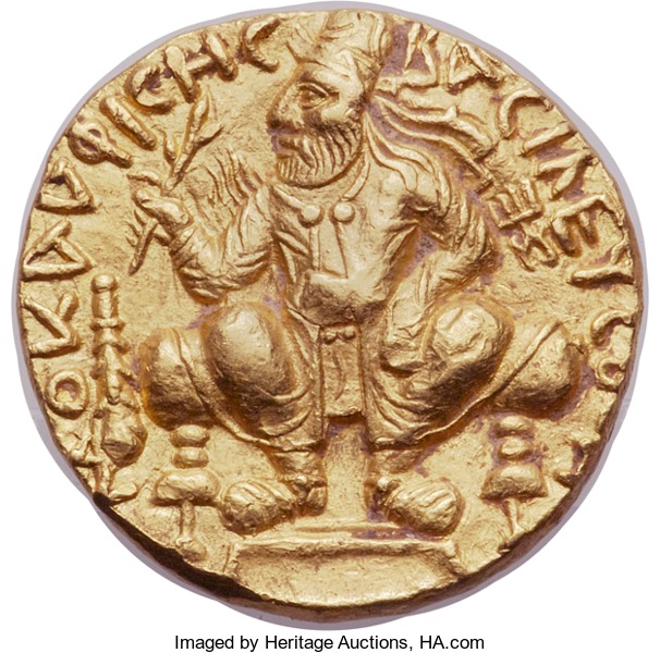 Obverse of an ancient Kushan gold distater (double dinar) of Vima Kadphises. Image courtesy Heritage auctions