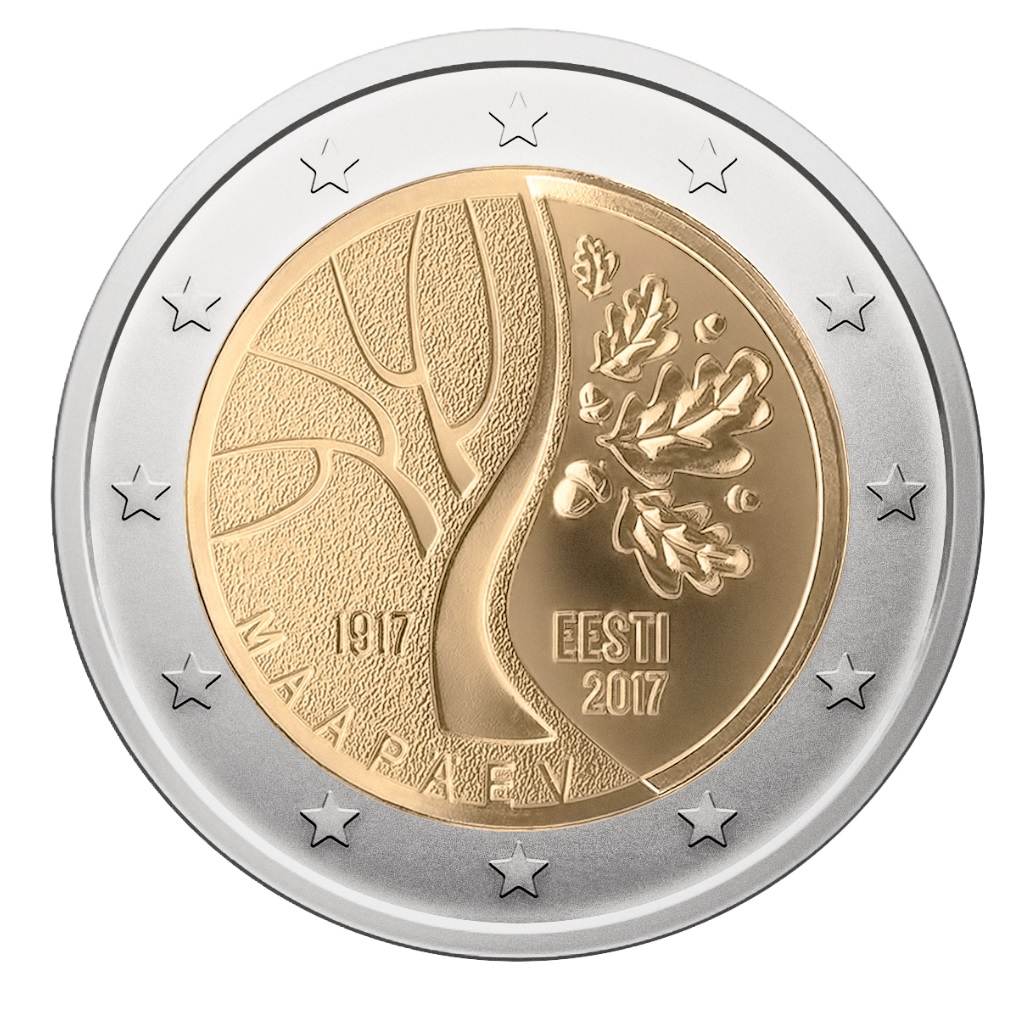 Estonia 2017 100th Anniversary of Independence 2 Euro bimetallic coin. Image courtesy Bank of Estonia