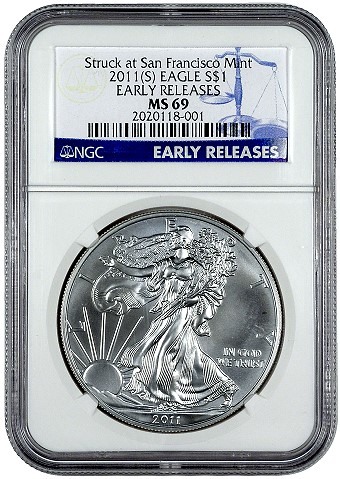 2011 American Silver Eagle MS69 NGC