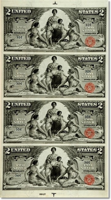 1896. Silver Certificates. Bound Presentation Set of the First Educational Uncut Sheets. 2.