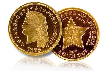 1879 Four-Dollar Gold Stella. Flowing Hair. NGC PR68 Ultra Cameo