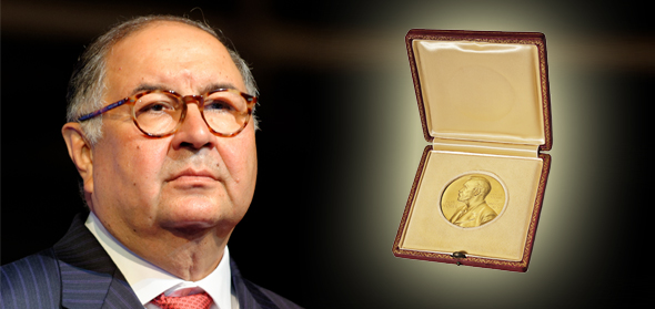 Alisher Usmanov James Watson Nobel prize medal