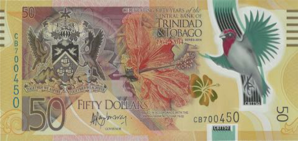 Front, 2014 $50 polymer Trinidad and Tobago bank note
