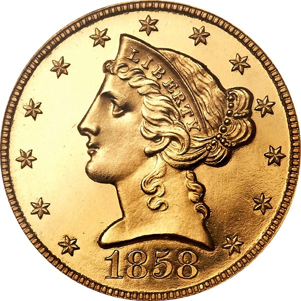 Proof Gold Coins - 1858 Proof Liberty Half Eagle - Finest of