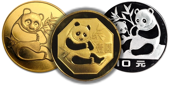 Gold Silver And Br Panda Coins