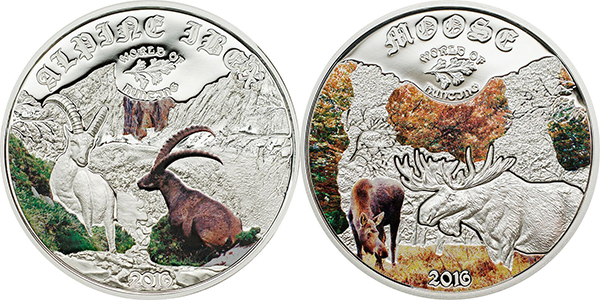 Cook Islands 2015 World of Hunting - Alpine Ibex and Moose $2 silver. Courtesy Coin Invest Trust, Mayer Mint.