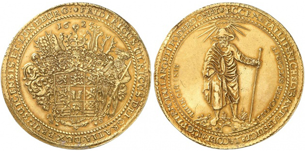 Brunswick-Wolfenbüttel. Frederick Ulrich, 1613-1634. Gold löser in the weight 20 of goldgulden 1625, Goslar or Zellerfeld. Kunker Auction Preussag Collection
