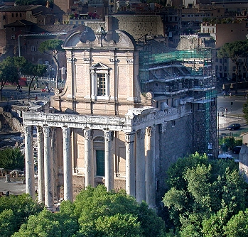 The temple of Antoninus and Faustina in the Roman Forum
