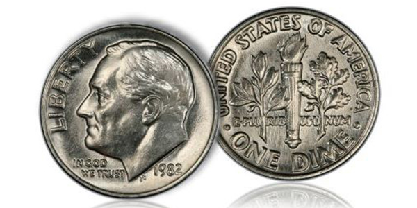 1982 No P Roosevelt Dime - chalres Morgan and Hubert Walker