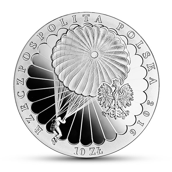Obverse, Poland 2016 75th Anniversary of the Cichociemni 10 zloty silver coin, courtesy Polish National Bank