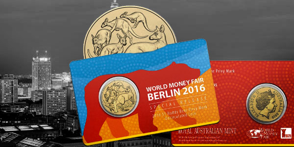 2016 Kangaroo Berlin Money Fair Buddy Bear Privy Mark One Dollar Australian coin