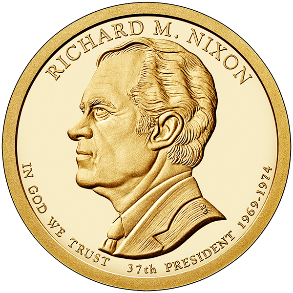 United States 2016 Richard M. Nixon Presidential $1 coin, courtesy United States Mint