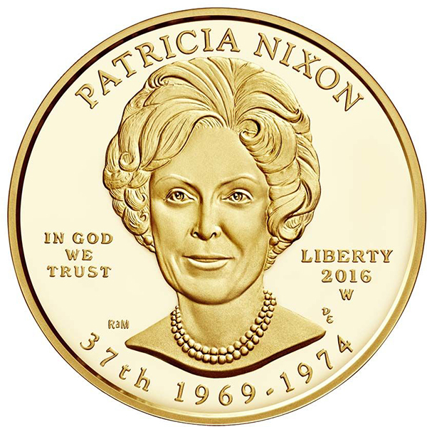"""Obverse, 2016 Patricia """"Pat"""" Nixon First Spouse 1/2 oz Gold Coin, Proof and Uncirculated. Courtesy U.S. Mint"""