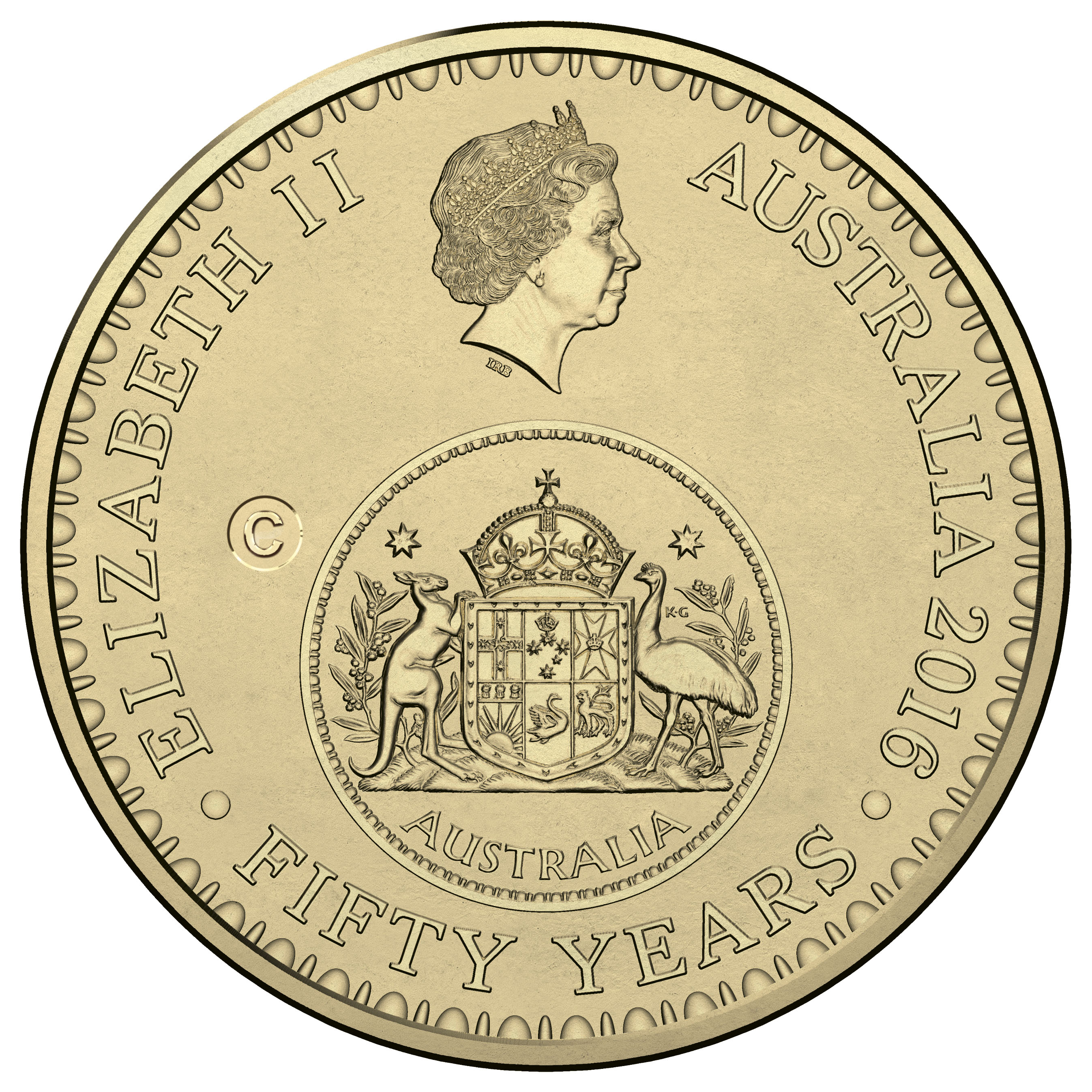2016 $1 'C' Canberra Counterstamp Coin obverse, Royal Australian Mint
