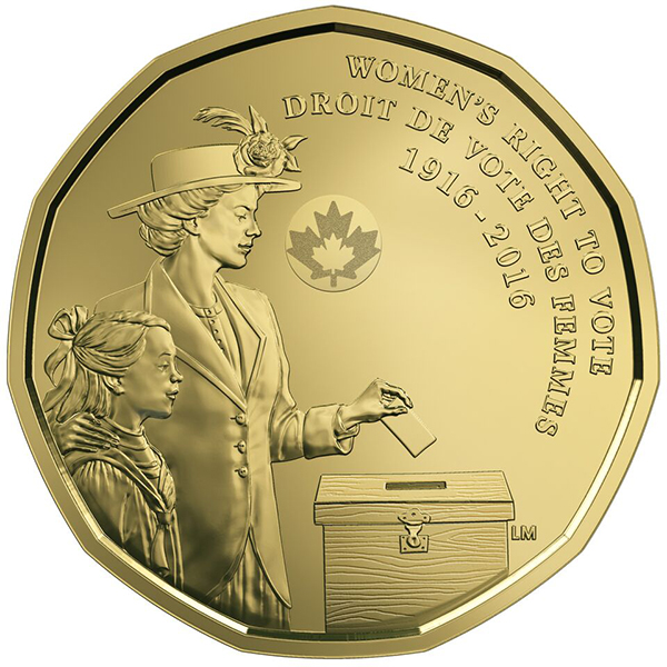 reverse, Canada 2016 100th Anniversary Women's Right to Vote $1 coin
