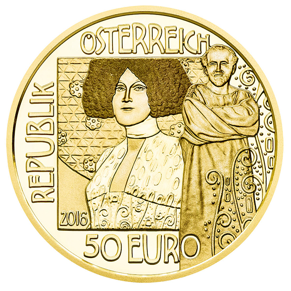obverse, Austria 2016 Klimt & His Women: The Kiss 50 euro gold coin