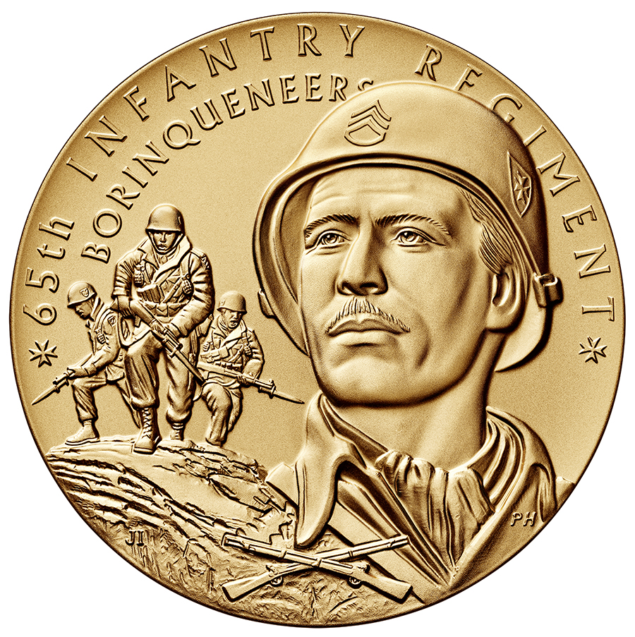 obverse, 2016 65th Infantry Borinqueneers Congressional Gold Medal