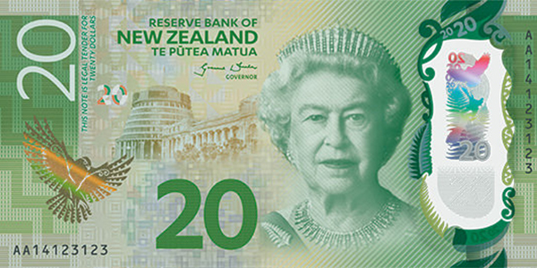 front, New Zealand 2016 Series 7 $20 banknote
