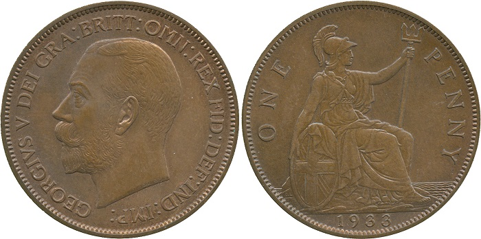 World-record-setting 1933 Pattern Penny, courtesy Baldwins' Auction House