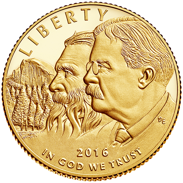 obverse, United States 2016 National Park Service Centennial Commemorative $5 gold coin