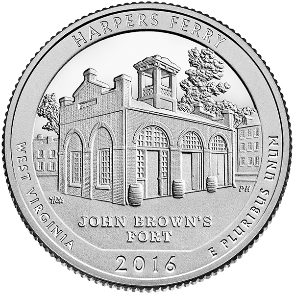 reverse, United States 2016 America the Beautiful Harpers Ferry National Historical Park Quarter