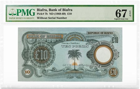 Biafra, Bank of Biafra, Pick# 7b, ND (1968-69) £10, PMG Graded 67 Superb Gem Unc EPQ, front