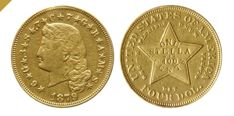 US 1879 $4 Stella Gold Coin. Images courtesy Bonhams, Bloomberg