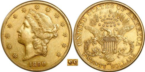 1890-CC Coronet Head double eagle. Images courtesy Daniel Frank Sedwick, LLC