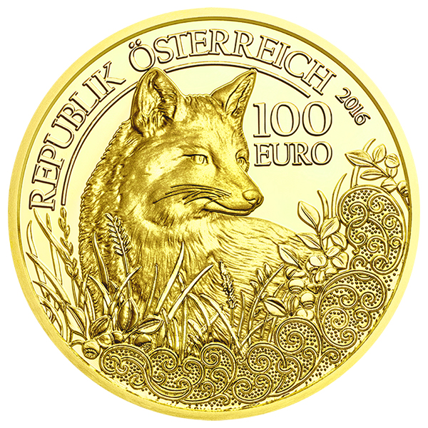Obverse, Austria 2016 Wildlife in Our Sights: The Fox 100 Euro Gold Coin. image courtesy Austrian Mint