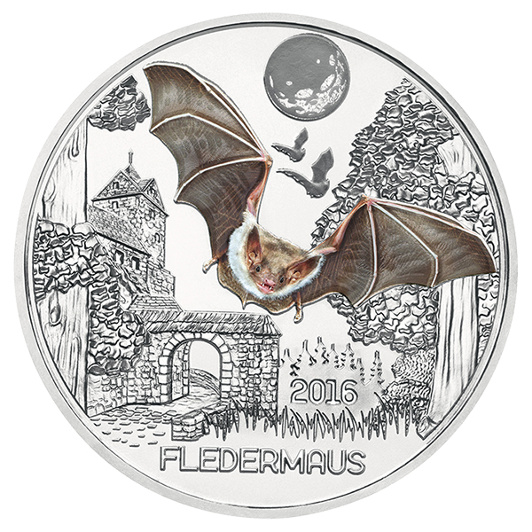 Obverse, Austria 2016 Colorful Creatures: The Bat 3 Euro Glow-in-the-Dark Coin. Image courtesy Austrian Mint